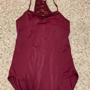 Beautiful Balera Lace-back Leotard, XL Burgundy